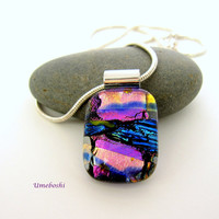 Smooth and Glossy One-of-a-kind Handmade Dichroic Fused Glass Pendant Fuchsia, Pink and Blue Jewelry by Umeboshi