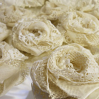 "10 Handmade Ivory Burlap & Lace Flowers for weddings, bouquet making, wedding decor, scrapbooking, gifts, crafts ""READY TO SHIP"""