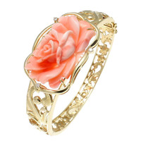 GENUINE PINK CORAL CARVED FLOWER DIAMOND BANGLE BRACELET HAWAIIAN SCROLL 14K