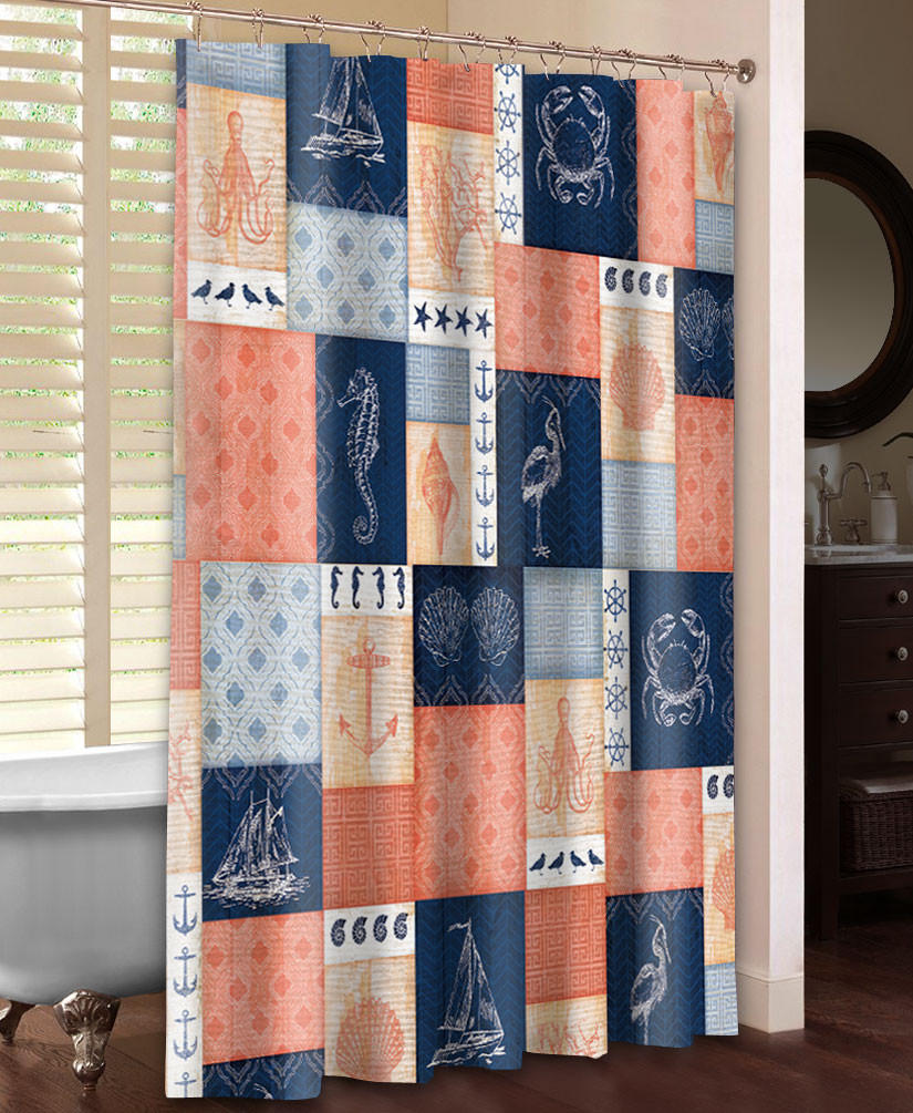 Navy And Coral Shower Curtain Coral Print Shower Curtain