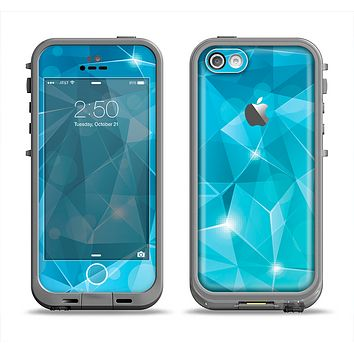The Vector Shiny Blue Crystal Pattern Apple iPhone 5c LifeProof Fre Case Skin Set