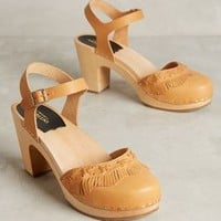Swedish Hasbeens Fringy Clogs