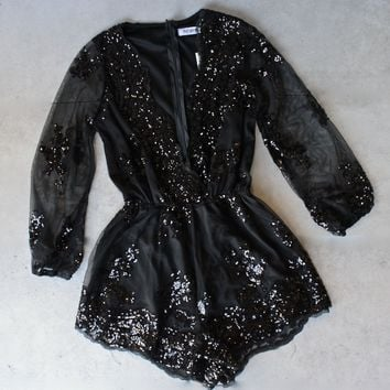 reverse - life of the party black sequin romper
