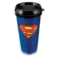 Vandor 74551 Superman Plastic Travel Mug, Blue, 16-Ounce