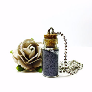 Black Fairy Dust Necklace, Pixie Dust, Black Glitter, Glitter Necklace, Glass Bottle Jewelry, Tiny Bottle, Bottle Necklace, Magic Angel Dust