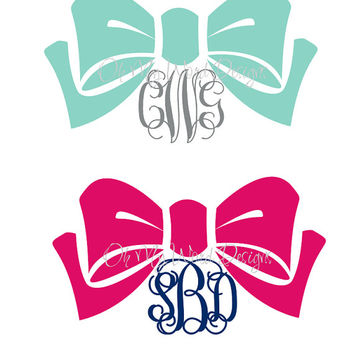Bow Monogram Car Decal