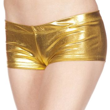 Metallic Gold Wet Look Low Rise Booty Shorts
