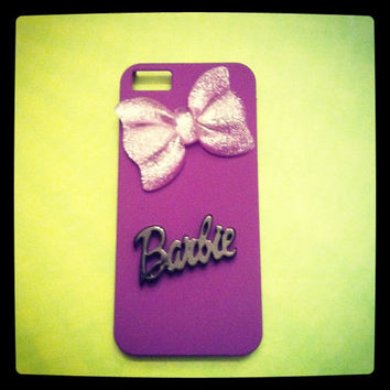 iPhone 5 Sparkling Glitter Retro Doll Purple 3D Bow case