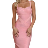 Under My Spell Blush Pink Sleeveless V Neck Sexy Bandage Bodycon Midi Dress