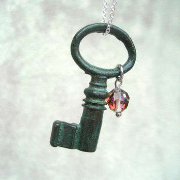 Skeleton Key Necklace - Antique Key - Teal Blue Patina - Swarovski Crystal - Small Key Jewelry