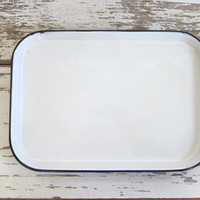 "Vintage Enamelware Tray / White Enamel with Black Trim 15"" x 10.5"", Rustic Farmhouse Kitchen decor"