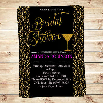 Black and gold bridal shower invitation black and gold glitter invite, Sparkly Bridal Shower invitations, Art Party Invitation
