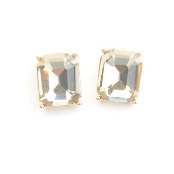 Topaz Emerald Cut Stud Earrings