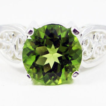 Round Peridot Filigree Ring Sterling Silver, August Birthstone Ring, Large Peridot Solitaire Ring, Sterling Silver Filigree Ring, 925 Ring