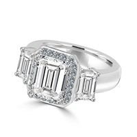 2 CT. Emerald Cut Center with two side baguette Simulated Diamond - Diamond Veneer Vintage Sterling Silver Ring 635R72227