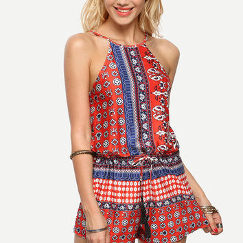 Halter Neck Vintage Print Open Back Lace Up Romper [6240899780]