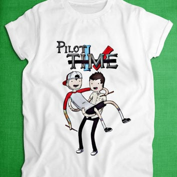 pilot time twenty one pilot shirt tshirt tank top clothing twenty one pilots custom shirt funny shirt adventure time shirt