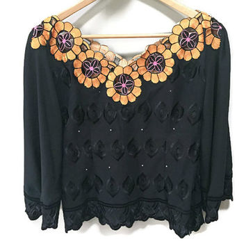 Unique Vintage Blouse, Embroidered Sunflowers Embossed Black Blouse Zip Up Back Off Shoulder V Neck Tiki Formal Blouse New Years Eve 1960s