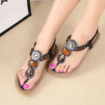2015 New Flip-flop sandals female shoes flats bohemian style handmade beaded flat sandals women shoes SH021