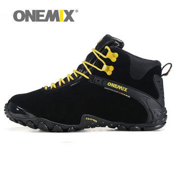 Winter Men's outdoor Leather Hiking Shoes Trekking Boots Warm Resistant Breathable Sport Shoes Mountain Climbing Sneakers