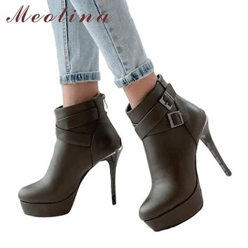 Women High Heel Ankle Buckle Booties