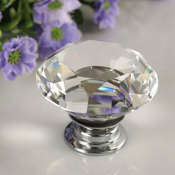 1pcs 30mm Diamond Crystal Glass Alloy Door Drawer Cabinet Wardrobe Pull Handle Knobs Drop Worldwide Store
