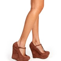 Taupe Mary Jane T-Strap Wedges