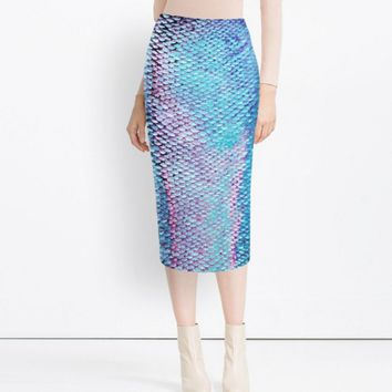 Scale printing high pockets hip skirts slit