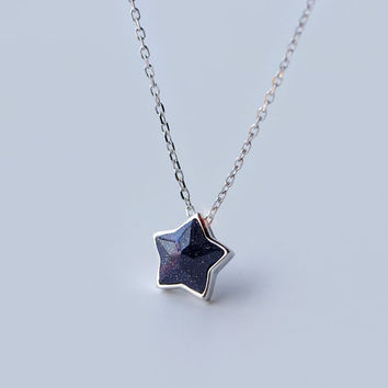 Gemstone Star Necklace, sterling silver Star necklace,Gemstone necklace ,Gemstone pendant,gift for her,gemstone pendant necklace