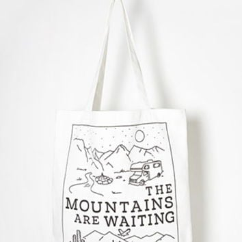 Mountains Graphic Canvas Tote