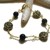 Gold Disc Beaded Bracelet,Bead Bracelet, Gold Wire Wrapped Bracelet, Handmade Jewelry