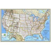 LARGE RELIEF AND POLITICAL MAP OF THE UNITED STATES poster city airports 24X36