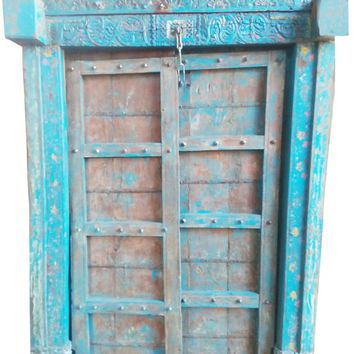 Conscious Design Antique Teak Door Iron Nails Blue Distressed Indian Hand Carving Solid Wood Architectural Double Doors