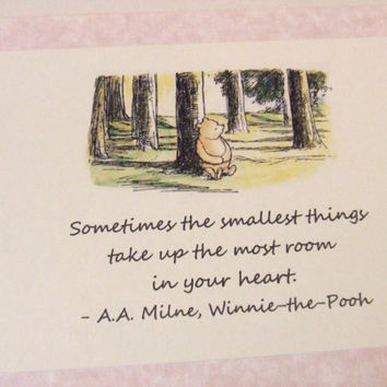The Smallest Things Winnie the Pooh Quote Nursery Print by prettypetalspaper