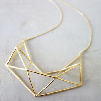 Long Structure Necklace, Geometric necklace, signature necklace, Architectural jewelry,