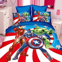 3d avengers/spiderman/batman/superman boys bedding set twin single size bed linen set