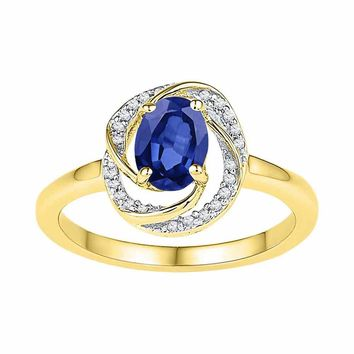 10kt Yellow Gold Womens Oval Lab-Created Blue Sapphire Solitaire Diamond-accent Ring 1-1/4 Cttw