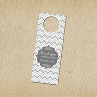 Custom Wine Tags for any Occasion or Event - Wedding, New Baby, Engagement - Classic Grey Chevron- Gift Tag