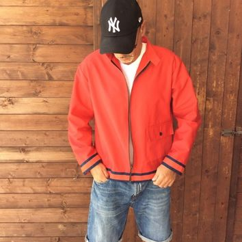 Red bomber unisex jacket ,blue stripes around waist and sleeves ,stripes jacket,urban style,street style, racing jacket,hipster, rockabilly