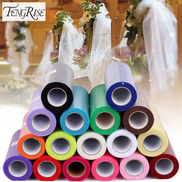 FENGRISE 15cm 25 Yards DIY Tulle Roll Spool Tutu Apparel Sewing Fabric Party Gift Crafts Wrap Wedding Decoration Accessory Cloth