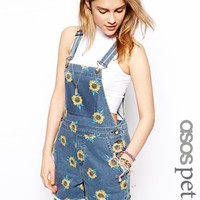 ASOS PETITE Sunflower Overall Short - Multi