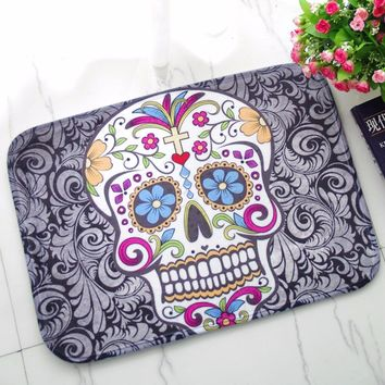Door Floor Carpets Coral Fleece Skull Printed Pattern Mat Carpet Mats for Home Living Room 40*60cm rugs and carpets floor mats