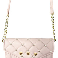Betsey Johnson LB61001 Blush Pink Quilted Hearts Wallet on a String
