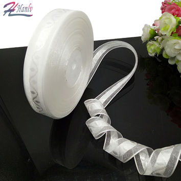 2 rolls (90 meters) white jacquard organza ribbon packing belt wedding party decoration DIY crafts free shipping R090