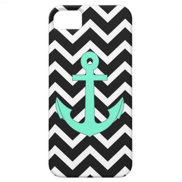 Chevron Tiffany Mint Blue anchor pattern iPhone 5 Case from Zazzle.com