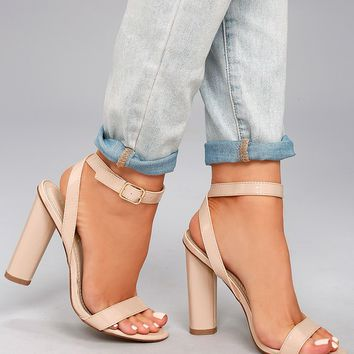 Raine Nude Patent Ankle Strap Heels
