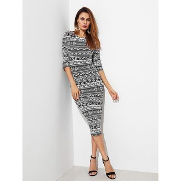 Tribal Print Form Fitting Dress Black and White