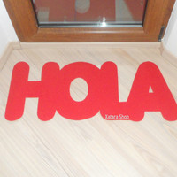 HOLA floor mat. Hello in Spanish. Welcome mat. Home decor. Customizable