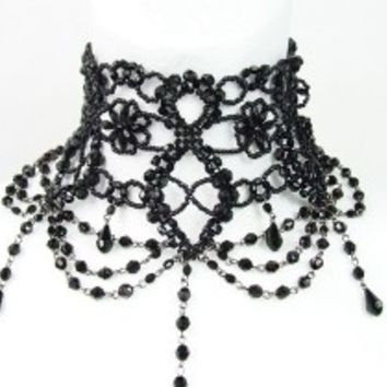Restyle Black Beaded Victorian Choker