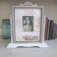 Vintage Wooden Swing Frame Painted Distressed Upcycled Shabby Cottage Chic Vintage Picture Frame Mid Century